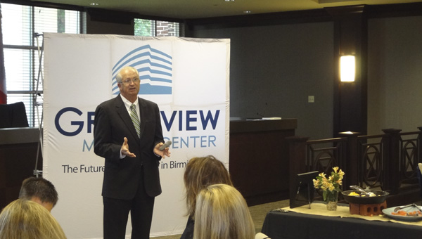 Trinity Medical Center President and Chief Executive Officer Keith Granger spoke about the hospital's upcoming move to the Grandview Medical Center campus at a Chelsea Business Alliance on July 8. (Reporter Photo/Emily Sparacino)