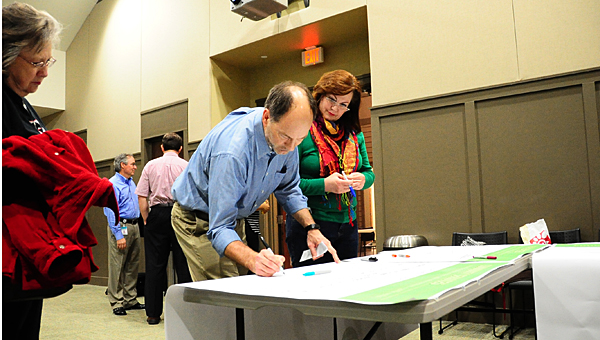 A planning process, including public input sessions such as this one in early 2015, has resulted in several ideas for Alabaster's future. (File)