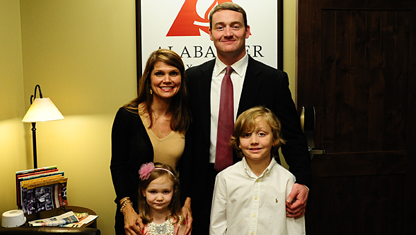 New Thompson High School Principal Dr. Wesley Hester with his wife, Maridy, and children Mary Ellis and Cohen. (Reporter Photo/Neal Wagner)