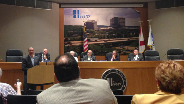 Dominic Buompastore, general manager of the Hyatt Regency Birmingham-The Wynfrey Hotel, speaks in opposition to a proposed increase in the municipal lodging tax during a July 20 Hoover City Council meeting. (Reporter Photo / Molly Davidson)
