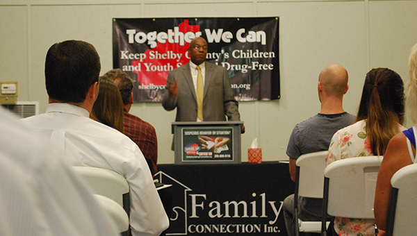 Bobby Humphries addressed the Shelby County Drug Free Coalition meeting on Thursday, July 16. (Reporter Photo/Graham Brooks)