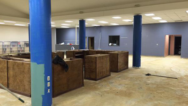 A new circulation desk made by students at the Shelby County College and Career was installed in the Chelsea High School learning commons this week as part of a remodeling project. (Contributed)