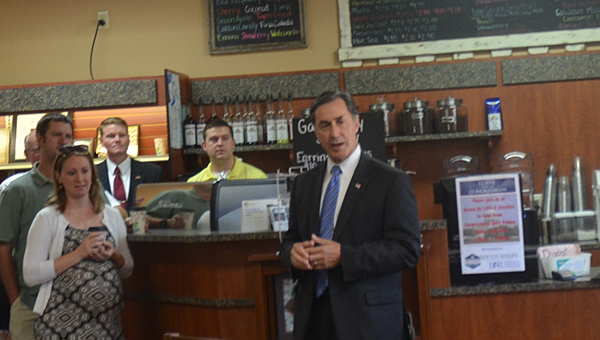 U.S. Congressman Gary Palmer talks during a visit to Snider's Pharmacy in Chelsea on July 31. (Reporter Photo/Jennifer Bailey)