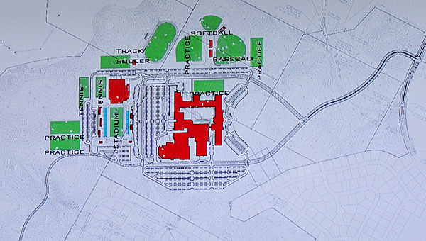 Alabaster's new high school will feature several athletic facilities and practice fields, according to site plans unveiled during a July 13 School Board meeting. (Reporter Photo/Neal Wagner)