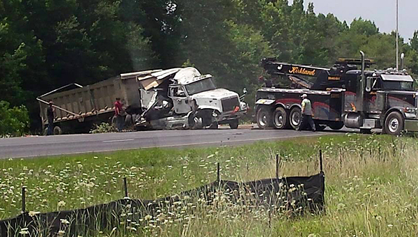 An 18-wheeler wreck closed Interstate 65 near the Pelham tank farm exit on the afternoon of July 2. (Contributed/Linda Lowden)