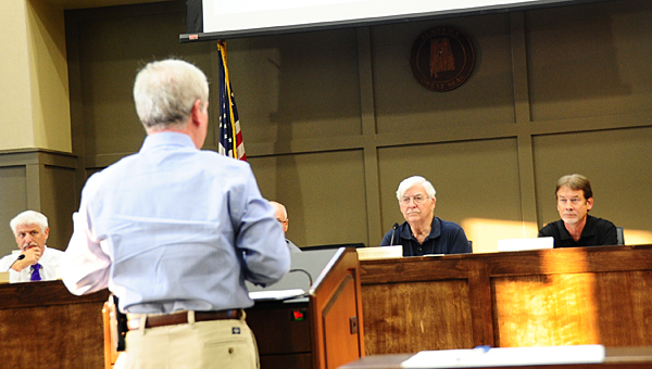 Kentwood subdivision resident Lance Gardner addresses Alabaster Planning and Zoning Board members, from left, Mike Whitaker, Robert Shinpaugh and Tommy Ryals during a July 28 meeting. (Reporter Photo/Neal Wagner)