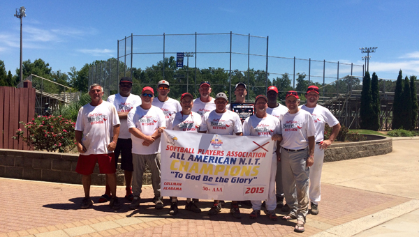 The Bob Sykes Barbecuse Over 50 Hitmen recently won the Softball Players Association AAA Southern Naionals Championship. Pictured from left to right: First row, James Praytor, Jim Brumback, Hardy Green, Chris England, Chik Reynolds, Mike Godfrey. Second row, Andre Gadsden, Kevin Brinkman, Mark Bunn, Steve Hines, Rod Roland, Donnie Gamble. (Contributed)