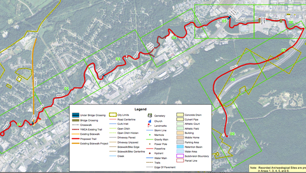 The primarily area for the Trails and Greenway project follows Bishop Creek along Oak Mountain Park Road between Amphitheater Road and John Findley Drive. (Contributed)