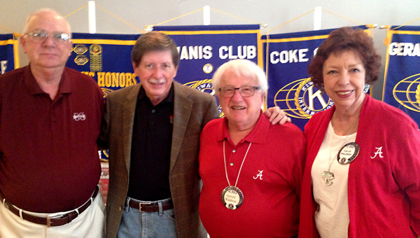 Pictured with Lyn Scarbrough with Lindy's Sports Magazine are Helena Kiwanis members Gene Maier, left, and Gerald and Callie Waldrop, right. (Contributed)