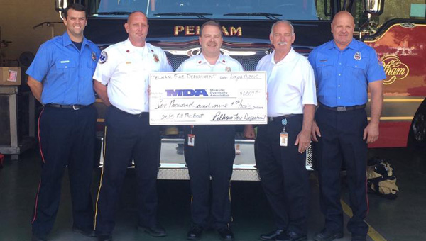 Crews with Pelham Fire Department collected more than $6,000 for the Fill the Boot campaign. (Contributed)