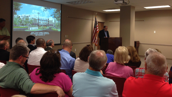Shelby County District 8 Commissioner Rick Shepherd voices opposition to a rezoning request during an Aug. 3 Shelby County Planning Commission meeting. Numerous concerned residents filled the meeting to voiced concern. (Reporter Photo / Molly Davidson)