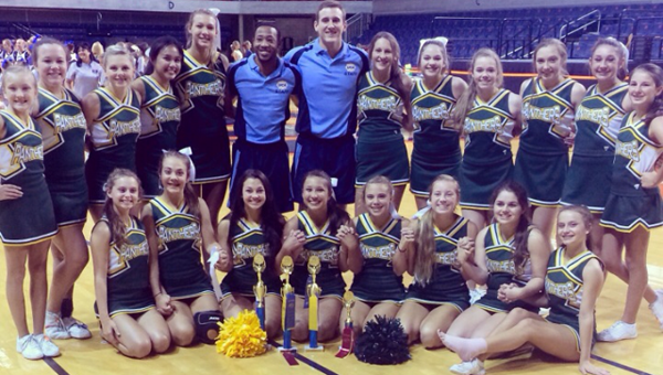The Pelham cheerleaders won first place for extreme routine, first place in cheer, second place in sideline and overall best game day competition squad for the 6A division at the Universal Cheerleaders Association Camp at Auburn. (Contributed)