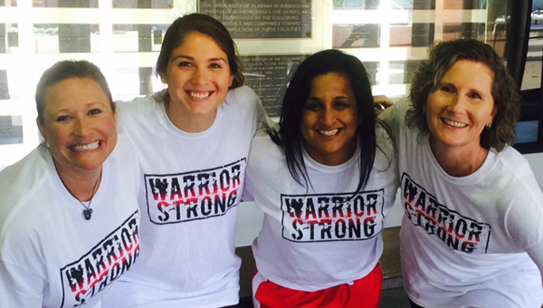 Pictured, from left, are Thompson Middle School coaches Tonnie Glover, Frances Barber, Melissa Baswell and Andrea Thames. (Contributed)