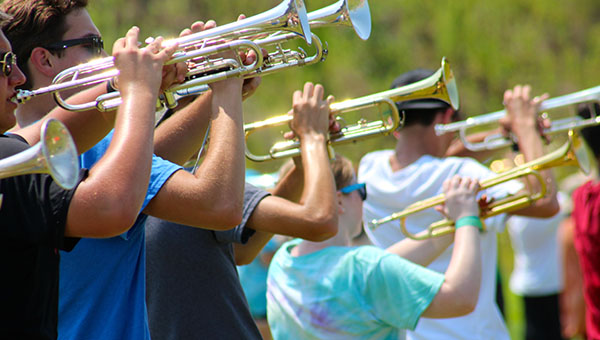 Members of the Helena Huskies Marching Band recently spent two full weeks at band camp preparing for the upcoming season. (Contributed)