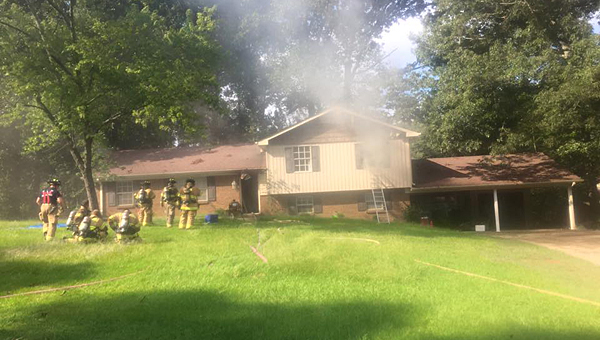 Alabaster firefighters extinguish a blaze at a residential fire in the 100 block of Hickory Street in Maylene on Aug. 28. The fire was one of two the AFD responded to during a three-day span. (Contributed)