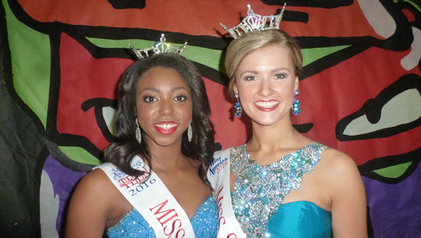 Hayley Barber of Pelham, a senior at UAB, was crowned Miss Shelby County 2016 andKyra Callens of North Shelby County, a junior at Oak Mountain High School, was crowned Miss Shelby County Outstanding Teen 2016. (Contributed)