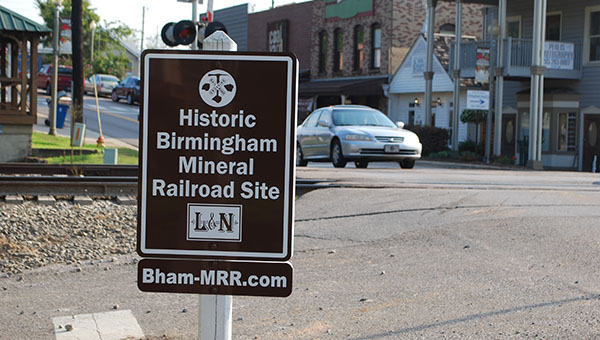 Fours signs have been placed in various locations in Helena signifying the sites as Historic Birmingham Mineral Railroad sites. (Reporter Photo/Graham Brooks)