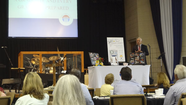 Shelby County Schools Superintendent Randy Fuller talks talks about the school system's strategic plan accomplishments at a South Shelby Chamber of Commerce luncheon Aug. 6. (Reporter Photo/Emily Sparacino)