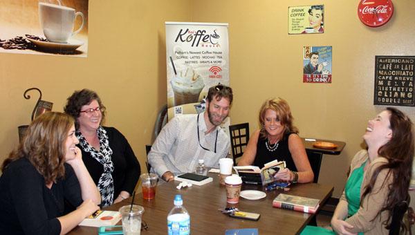 Courtney Farley, Tonya Hatch, Ryan Dye, Rebecca Burnett and Katie Borland discuss literature at Kai's Koffee in Pelham. (Contributed)