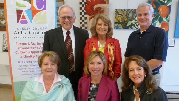 Original board members of the Shelby County Arts Council meet at the SCAC building, 104 Mildred Street in Columbiana, to talk about the 10th anniversary celebration Nov. 10. Pictured are, front row, Rachel Fowler, Terri Sullivan and Janice Falkner; and, back row, Butch Ellis, Carol Hill and Tom Seale. (Contributed)
