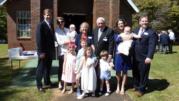 Phoebe Robinson, center, with her family at their family reunion: Son Donald and family – Katie, namesake Phoebe-Grey (a.k.a. Fifi, 1) and Bird, 5; Red, husband of 42 years; son Robert and family – Katherine, Tripp, 9, Rushton, 6, Jackson, 3, and Sarah Turnley, 1. Pictured, but not seen, is Charles Stewart Robinson, born Jan. 26 (son of Donald and Katie). (Contributed)