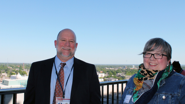 Fine Arts Specialist Andy Meadows of the Alabama State Department of Education and Pelham High School Theatre teacher Jamie Stephenson enjoy a break after the Arts Grant Initiative training in Montgomery. (Contributed)