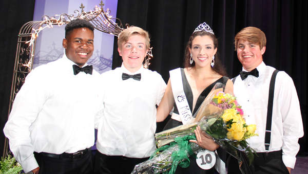 Miss PHS Jenna Bennett, center, poses for photos with Miss PHS escorts Jere Spillers, Jacob Caskey and Connor Christian. (Contributed)