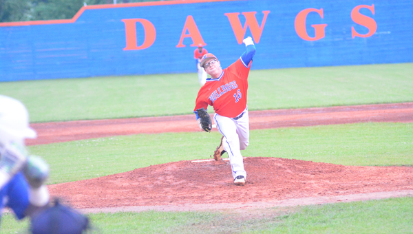 Zack Thompson threw a complete game shutout for Montevallo in the Bulldogs' playoff opener against Childersburg on April 22. Montevallo beat the Tigers in two games to advance in the 4A playoffs. (Reporter Photo / Baker Ellis)