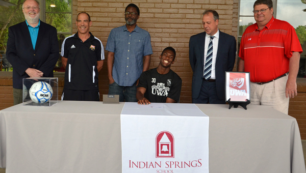 Rakim Ali smiles on April 27 as he made his decision to further his athletic career by attending the University of West Alabama, where he will play for the men's soccer team. (Contributed / Mindy Black)