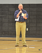 Jimmy Crane spoke at an assembly at Helena High School on Friday, April 15. Crane lost his son to a drug overdose and read a portion of his son's eulogy to students. (Reporter Photo/Graham Brooks)