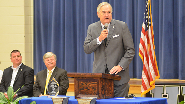 Alabama Attorney General Luther Strange presented the 2015 Alabama Safe Schools Initiative Award of Excellence to Helena Middle School on Tuesday, April 26. (Reporter Photo/Graham Brooks)