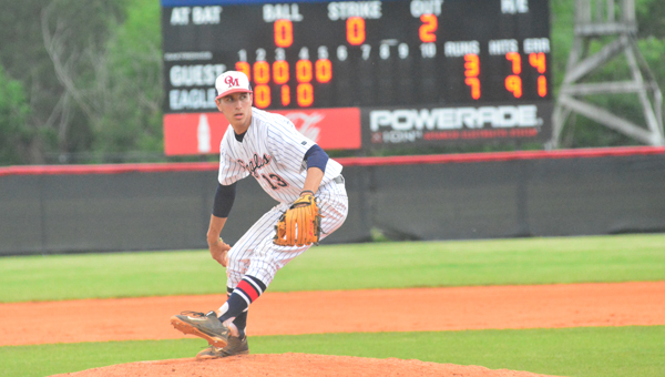 Joseph Hartsfield threw a complete game shutout in the Eagles' second game against Hewitt-Trussville on May 6 in the second round of the 7A playoffs. Despite Hartsfield's effort, Oak Mountain lost the series two games to one. (File)