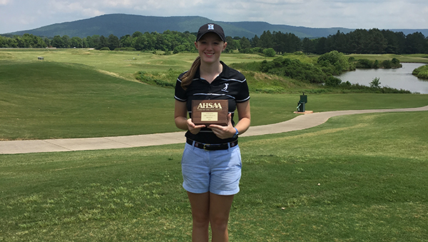 Helena High School senior Grayson Gladden won HHS first state championship after winning the AHSAA 4A-5A Girls State Golf Championship in individual stroke play. (Contributed)