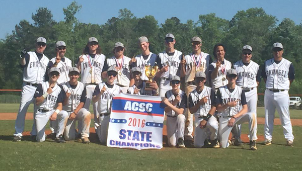 The Evangel Christian baseball Lightning won the ACSC state championship on May 7 with an emphatic 13-0 win over Hope Christian. (Contributed)