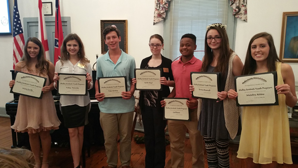 Mary Saville, Yuliya Rudenko, Tyler Herring, Ashlin Dyal, Carl Davis, Emma Braswell and Madeline Adkins are members of the 2016 Shelby Sentinels Ambassador Program. Their graduation was May 1 at the Shelby County Historical Society meeting. (Contributed)