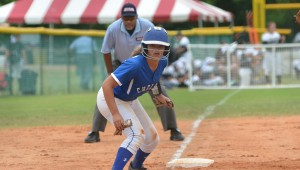Allie Miller watches home plate intently as she prepares to make a dash during the 6A state softball tournament. (Reporter Photo / Baker Ellis)