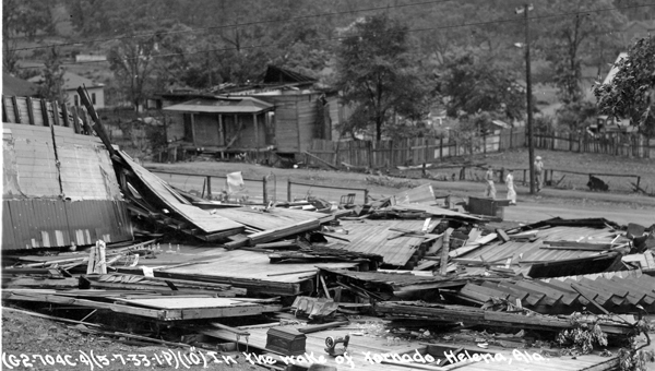 Ruins of Masonic Lodge. This photo shows what remained of one of Helena's oldest structures after the devastating storm struck the town in the darkness of an early morning in May 1933. (Contributed)