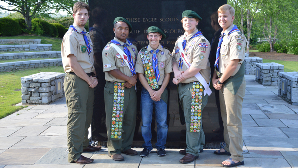 Original members of the Wilsonville Boy Scout Troop 588— Noah Reece, Nicholas Chapple, Johnathon and Wil Langner and Luke Lawler—recently earned the distinction of Eagle Scouts. (Reporter photo/Jessa Pease)