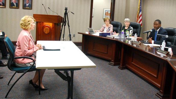 The Hoover Board of Education interviews Tina Hancock during a May 9 meeting. Hancock was recently hired as the Hoover City Schools CSFO following Cathy Antee's retirement. (Reporter Photo/Molly Davidson)