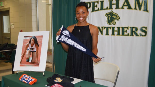 Pelham High School track star Erin Hines reveals her athletic commitment to Samford University. (Reporter photo/Jessa Pease)