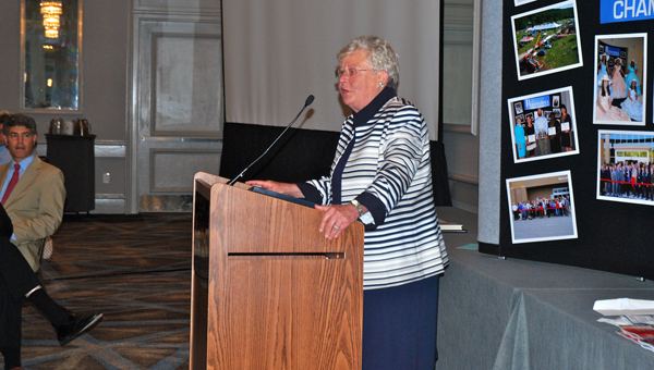 Alabama Lt. Gov. Kay Ivey speaks at the monthly Hoover Area Chamber of Commerce luncheon on May 19. (Reporter Photo/Molly Davidson)