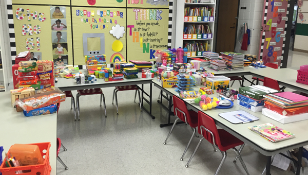 Oak Mountain Elementary School students collected more than 600 items for Owens House during the school's Child Advocacy Awareness Week. (Contributed)