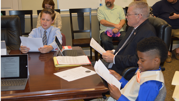 Fifth-grade students sit-in on the discussion related to the new library during Pelham's Youth Government Day. (Reporter photo/Jessa Pease)