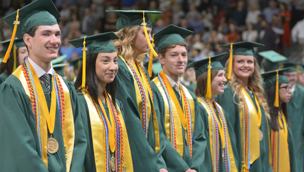 The class of 2016 sings Pelham High School's alma mater before crossing the stage as graduates May 26. (Reporter photo/Jessa Pease)