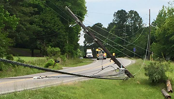A May 16 wreck caused power lines to fall across Alabama 119 south of its intersection with Fulton Springs Road. (Contributed)