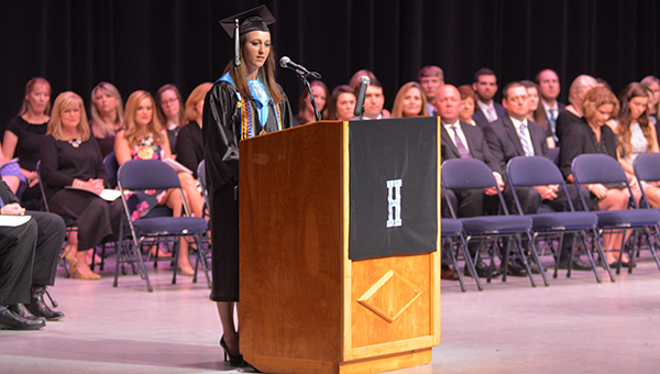 Helena High School Valedictorian Jordan Ingram addresses the class of 2016 in the BJCC Concert Hall on Tuesday, May 24 at Helena High School's commencement exercises. (Reporter Photo/Graham Brooks)