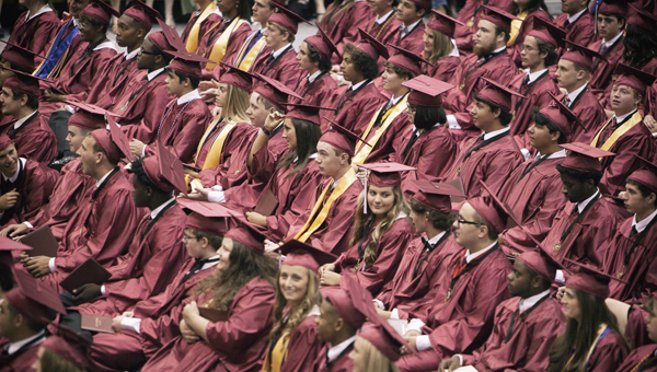 Members of the Shelby County High School class of 2016 take in what could be their last time together as a class at a graduation ceremony May 26 in Montevallo. (For the Reporter/Kevin McKee)