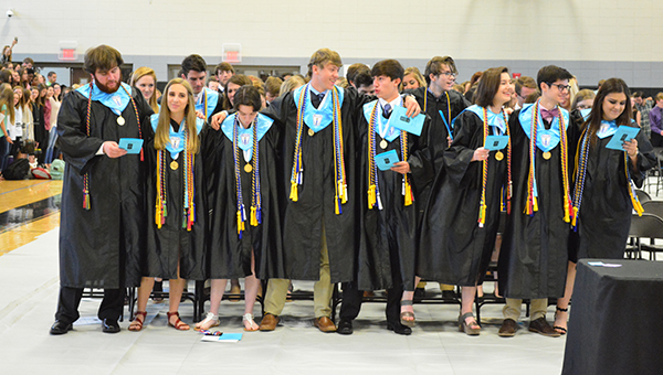 Helena High School seniors sing the alma mater on Monday, May 16 at the conclusion of the HHS Awards Day ceremony. (Reporter Photo/Graham Brooks)