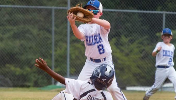 Chelsea Fury second baseman Trey Webster records an out against Clay in the Summa Sizzla at the Chelsea Park baseball fields. (Contributed)