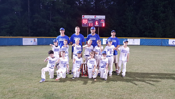 The 8U Chelsea powerhouse show off their rings after beating Shelby County in the 8U district finals on June 21. (Contributed)